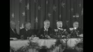 President Franklin Roosevelt seated with officials speaking at a dinner of the International Brotherhood of Teamsters [discusses labor baiting and...