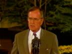 US President George Bush denounces the invasion of Kuwait by Iraq