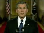 President George W Bush issues ultimatum to Saddam Hussein in TV address Washington DC Mar 03