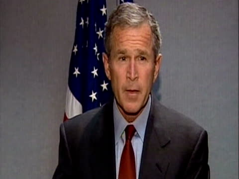 US President George W Bush makes imminent statement to the American nation following the bombing of World Trade Centre in New York
