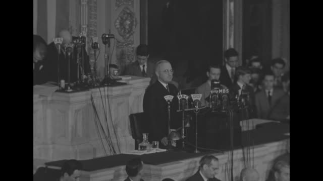US President Harry S Truman begins his first speech since the death of Pres Franklin Roosevelt as he addresses a joint session of the US Congress...