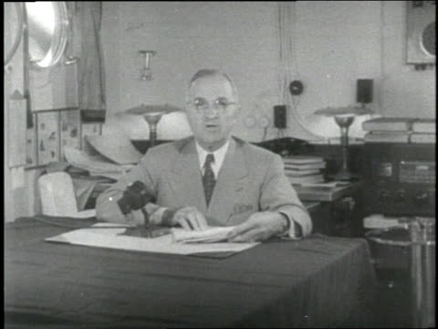 US President Harry Truman announces the bombing of Hiroshima Japan in 1945