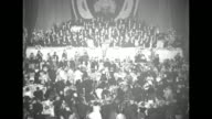 US President Harry Truman finishes speech at Columbus Day Dinner at the Waldorf Astoria Hotel and crowd gives standing ovation