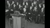 US President Harry Truman sits with other attendees at the conference of Ministers of Foreign Affairs of the American Republics Dean Acheson US...