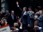 President Jimmy Carter waves at supporters during mid term election campaign Sacramento California 06 Nov 78