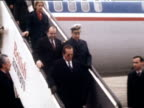 President Josip Tito down aeroplane steps and shakes hands with official Heathrow 10 Mar 78