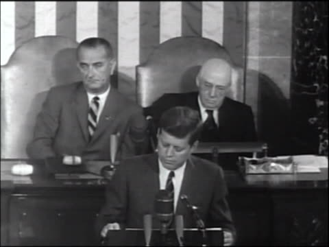 President Kennedy speaks before Congress on space program / LBJ Sam Rayburn in background