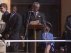 President Mandela makes a speech to thousands of people in Cape Town about the need and want for change in the country