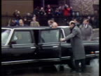 President Mikhail Gorbachev and aides get out of limousine Gorbachev waves to crowds during presidential visit to London 06 Apr 89