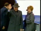 President Mikhail Gorbachev and wife Raisa wave from aeroplane to Prime Minister Margaret Thatcher standing and waving in crowd below plane flies off...