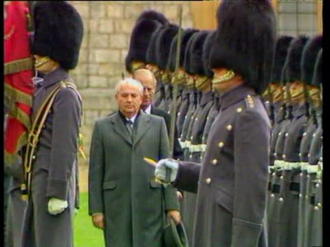 President Mikhail Gorbachev inspects guard of honour followed by Duke of Edinburgh Windsor Castle 07 Apr 89