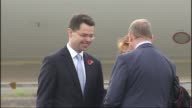 President of Colombia meets James Brokenshire NORTHERN IRELAND Belfast EXT Colombian plane taxiing on runway / James Brokenshire MP chatting with...