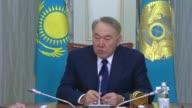 President of Kazakhstan Nursultan Nazarbayev meets with United Nations Special Envoy for Syria Staffan de Mistura in Astana Kazakhstan on January 23...