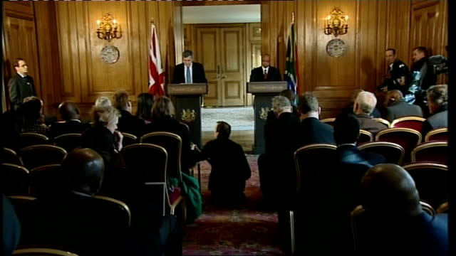 Gordon Brown and Jacob Zuma press conference Gordon Brown MP press conference SOT In answer to the first set of questions may I say that we support...