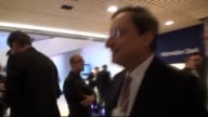 President of the European Central Bank Mario Draghi walking through WEF conference center Davos 2012 Mario Draghi on January 27 2012 in Davos...