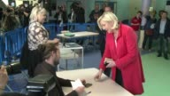 President of the French far right National Front party Marine Le Pen voted Sunday in EU parliamentary elections expected to give eurosceptic parties...
