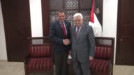President of the International Committee of the Red Cross Peter Maurer meets with Palestinian President Mahmoud Abbas in the West Bank city of...