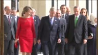 President of Turkey Recep Tayyip Erdogan and his wife Emine Erdogan are welcomed by Belgian King Philippe and Queen Mathilde prior to a luncheon at...