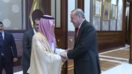President of Turkey Recep Tayyip Erdogan meets with Foreign Minister of Saudi Arabia Adel alJubeir at the Presidential Complex in Ankara Turkey on...