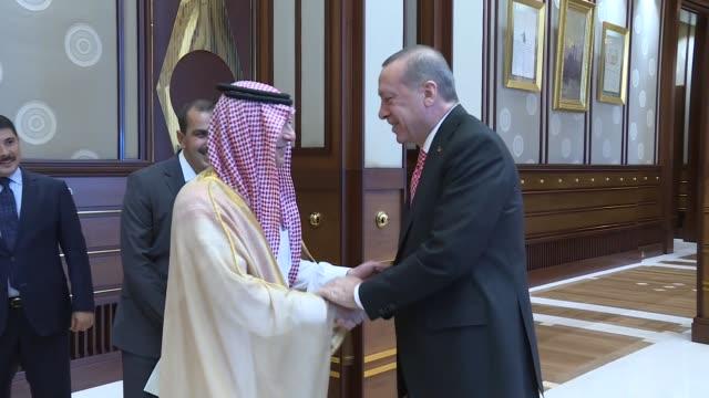 President of Turkey Recep Tayyip Erdogan meets with Foreign Minister of Saudi Arabia Adel alJubeir at the Presidential Complex in Ankara Turkey on...