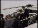 President Reagan London stopover ENGLAND LAP President Ronald Reagan and wife Nancy wave from top of aircraft steps MS SIDE Reagans down plane steps...