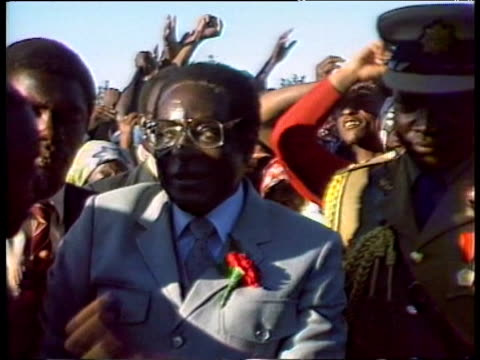 President Robert Mugabe at campaign rally 1980s
