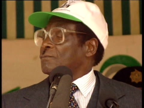 President Robert Mugabe declares his antiBritish stance at political rally 1990s