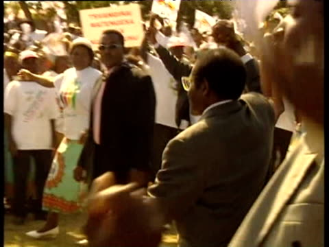 President Robert Mugabe is greeted by crowds during election rally 2000s