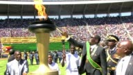 President Robert Mugabe marked Zimbabwes 33 years of independence with a renewed call to shun violence ahead of elections later this year to choose a...