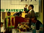 President Robert Mugabe speaks at lectern during election 03 May 00