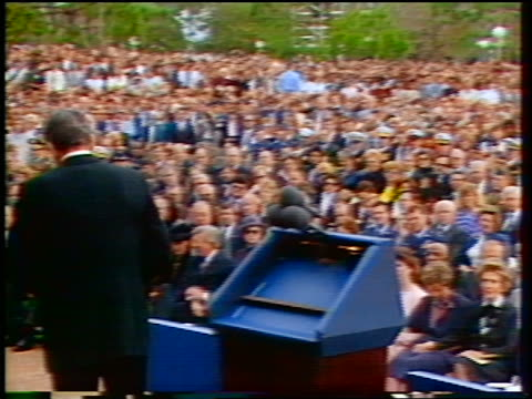 President Ronald Reagan finishing eulogy for Challenger astronauts leaving stage