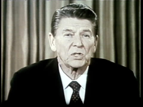 President Ronald Reagan gives a speech about the economy from the Oval Office