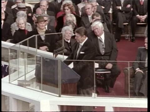 President Ronald Reagan gives his inauguration speech