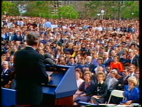 President Ronald Reagan giving eulogy at Challenger memorial service