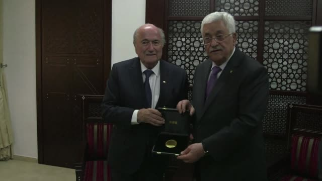 FIFA president Sepp Blatter continued his Mideast visit on Wednesday meeting with Palestinian President Mahmud Abbas in the West Bank