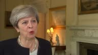 President Trump issues warning as North Korea fires missile over Japan ENGLAND London Downing Street INT Theresa May MP interview SOT this action by...