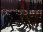 President Yeltsin swornin EXT MS Soldiers goosestepping by as band play MS Yeltsin with others MS Soldiers past C4N