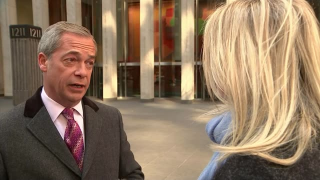 US Presidentelect Donald Trump meets Nigel Farage / Trump '60 Minutes' interview EXT Nigel Farage MEP set up shot / interview SOT Let's be honest...