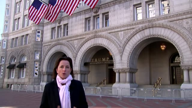 US Presidentelect Donald Trump unfazed by his conflicts of interest Washington DC EXT Reporter to camera SOT