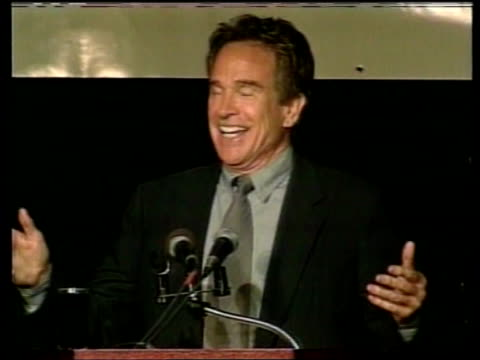 Presidential aspirations ITN USA Beverly Hills Warren Beatty speech SOT Members of the press my fellow Americans the state of the union is sound MS...