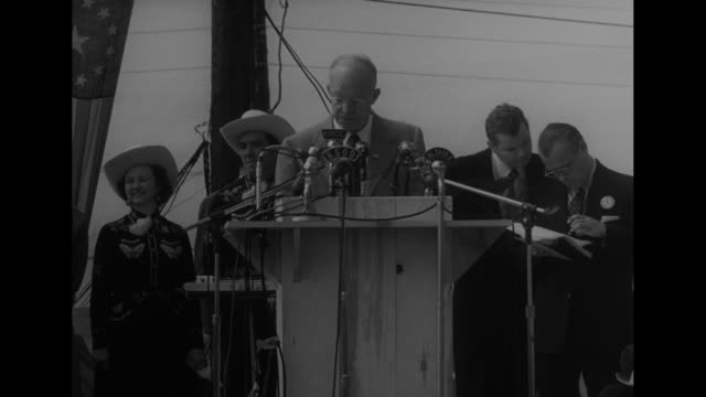 CU presidential candidate Dwight D Eisenhower speaks at podium with radio microphones 'The Democrat planners have made the diversified farmers a...