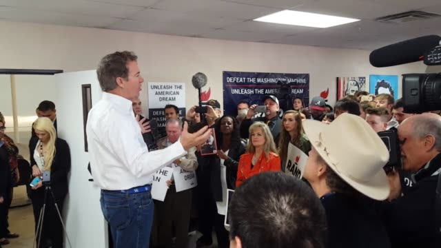 GOP presidential candidate Rand Paul holds debate day rally at Palms Airport Commerce Center SOT with supporter named Cathy Baca asked about what...
