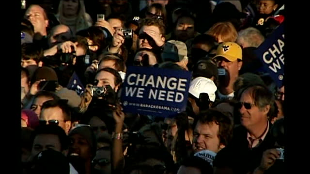 Barack Obama leads polls USA Virginia INT * * Music heard intermittently during following shots SOT * * Good shots MONTAGE Barack Obama at political...