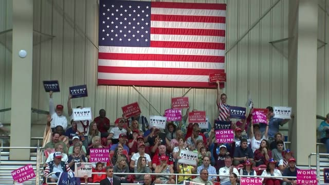 Donald Trump rally in North Carolina Audience cheering Trump speech