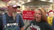 vox pops Trump supporters at rally Vox pops Trump supporters 'Make America Great Again' and 'Trump Pence' placards Vox pops Trump supporters Trump...