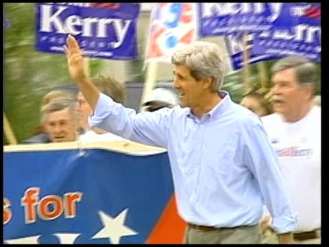 Senator John Kerry/ Hillary Clinton ITN Kerry and supporters along PAN CMS Kerry