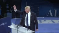 US presidential hopeful Donald Trump spoke at the conference of the US pro Israel lobby AIPAC in Washington
