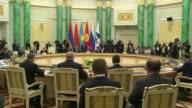 Presidents Nursultan Nazarbayev of Kazakhstan Vladimir Putin of Russia Almazbek Atambayev of Kyrgyzstan Alexander Lukashenko of Kyrgyzstan and Serzh...