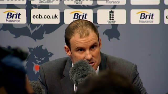 ECB press conf at Lords with Andrew Strauss and Alastair Cook Andrew Strauss press conference SOT Very short statement After much thought I have...