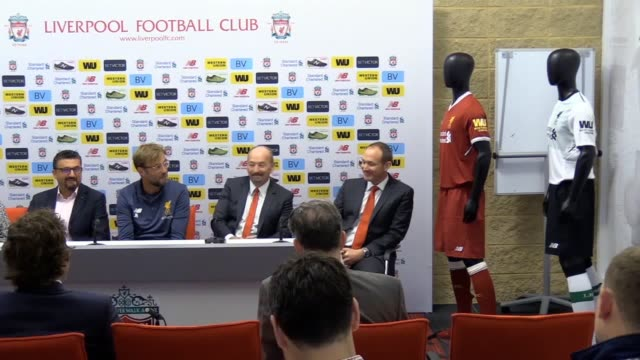 A press conference at Melwood as Liverpool announce a partnership with Western Union that sees the company become the club's new shirt sleeve sponsor...
